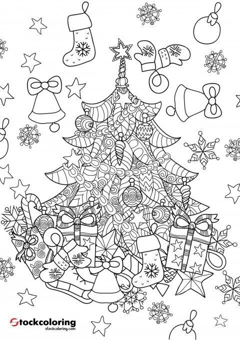 weihnachtsbaum zentangle  christmas coloring page