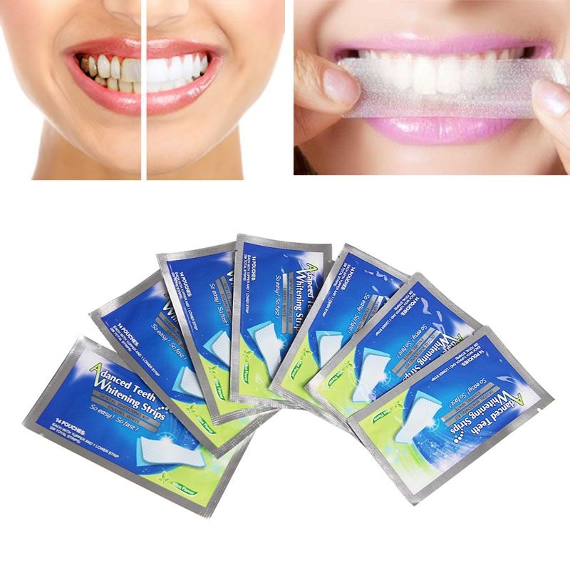 7 Pouches Advanced Teeth Whitening Strips Gel Care Oral Hygiene