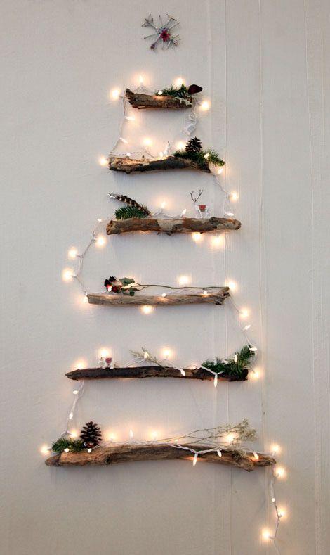 Basteln Mit ästen weihnachtliche dekoration mit masking papier kreide oder