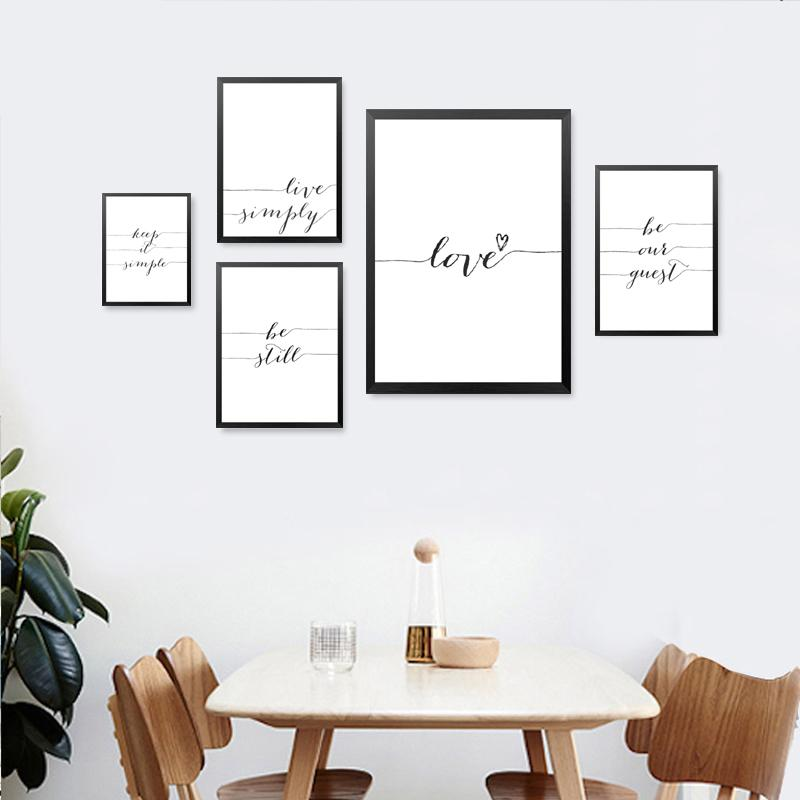 English Art Letters Quotes Painting Wall Decor Love