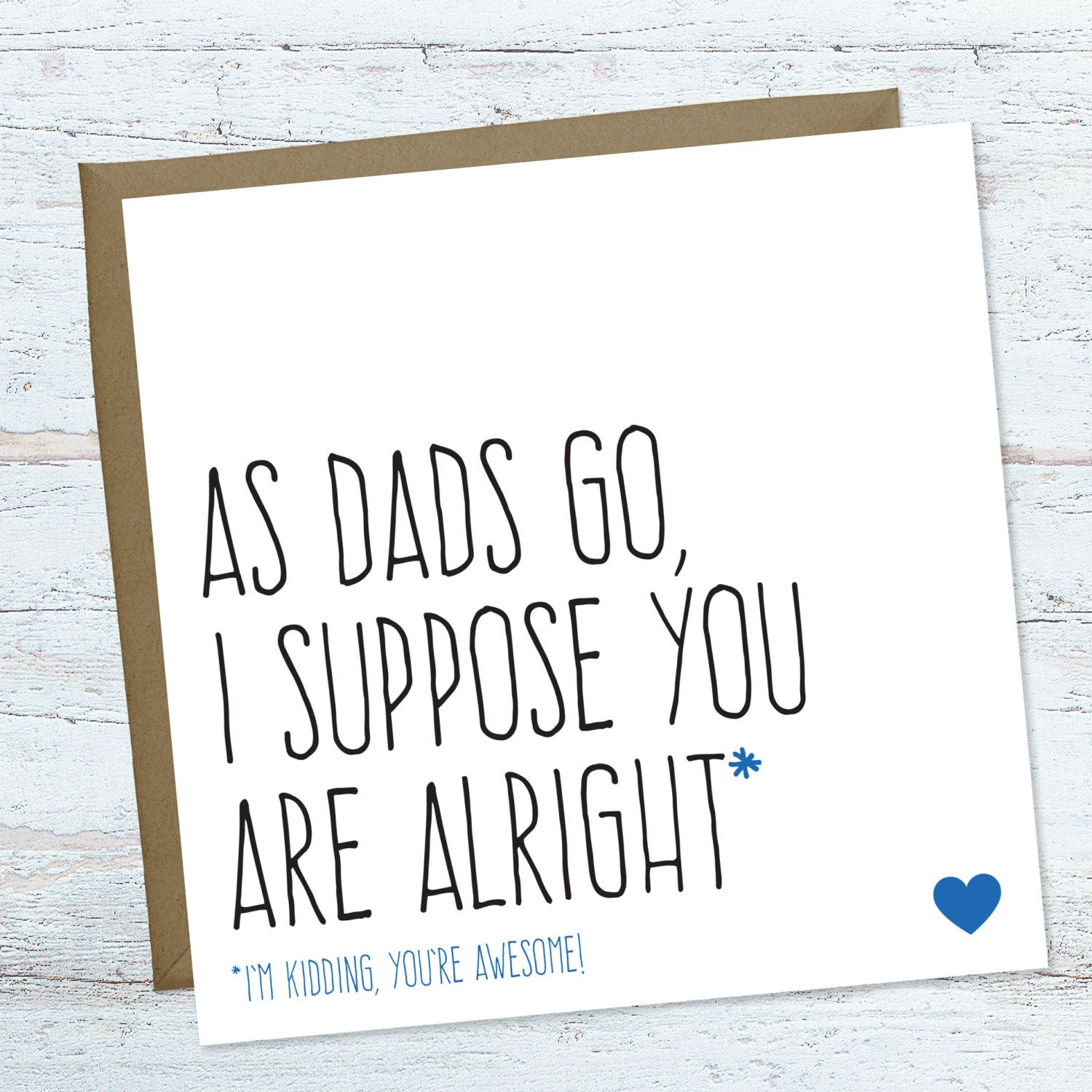 Funny Fathers Day Card Funny Birthday Card For Dad Blank Greeting