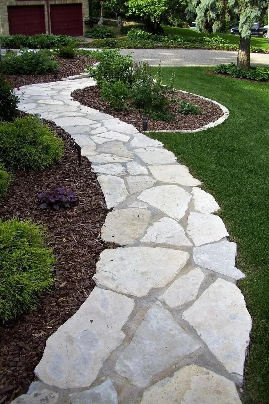 30 Amazing Stone Pathway Ideas For Front Yards Backyard Walkway