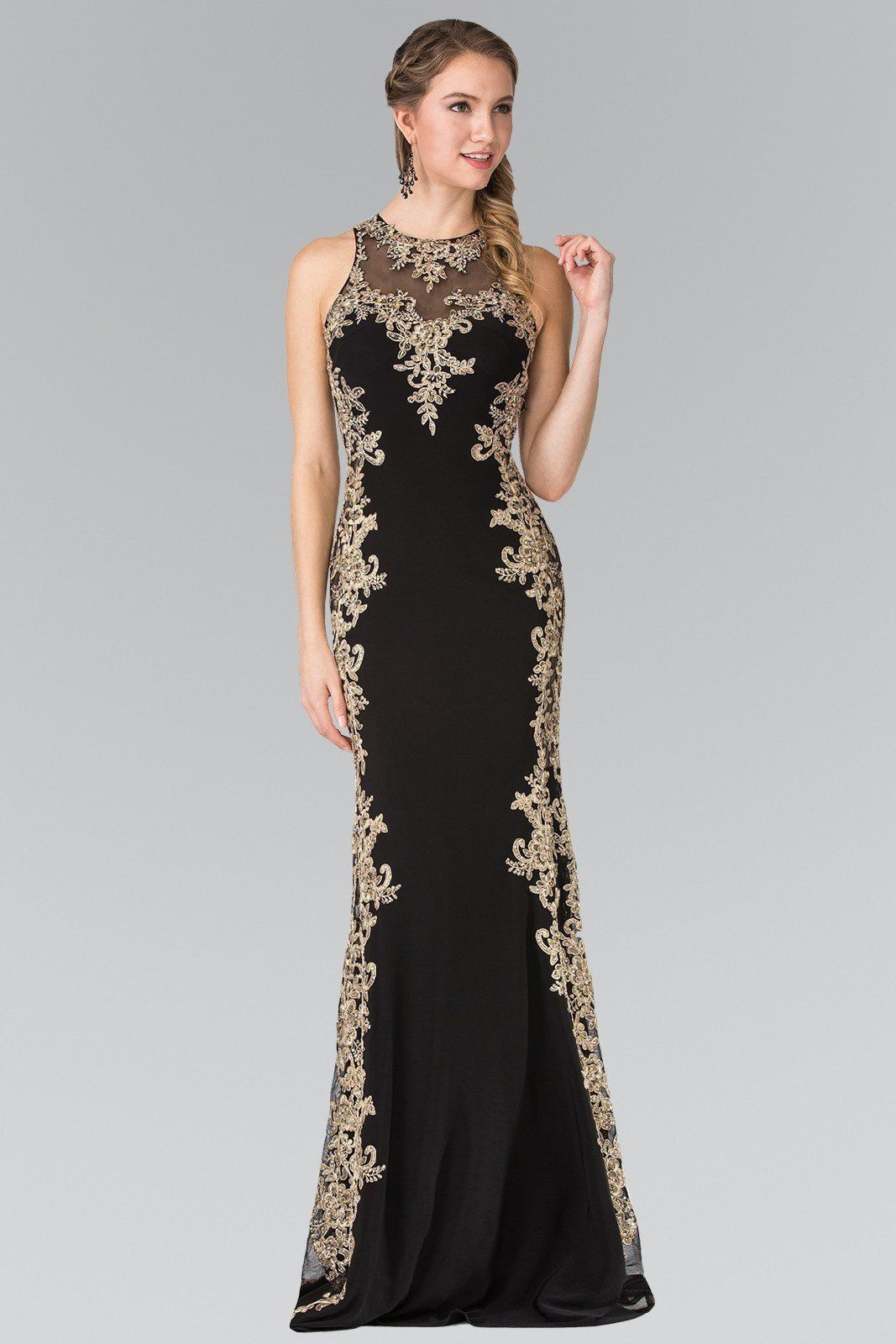093b0c136759 Trendy plus size prom dress & evening gown with gold lace accents. A long  fitted formal dress perfect for prom, gala or as a black tie evening dress.