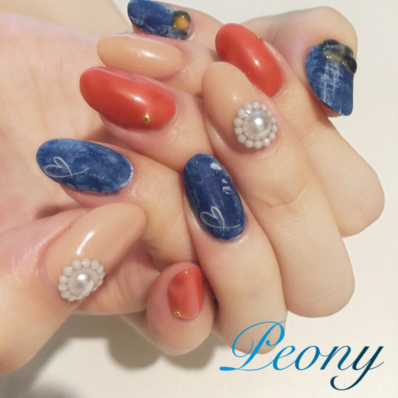 gelnail design*秋のデニムネイル♡