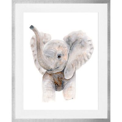 """Oopsy Daisy Baby Elephant Trumpet Framed Art Size: 30"""" H x 24"""" W x 1.25"""" D, Frame Color: Silver"""