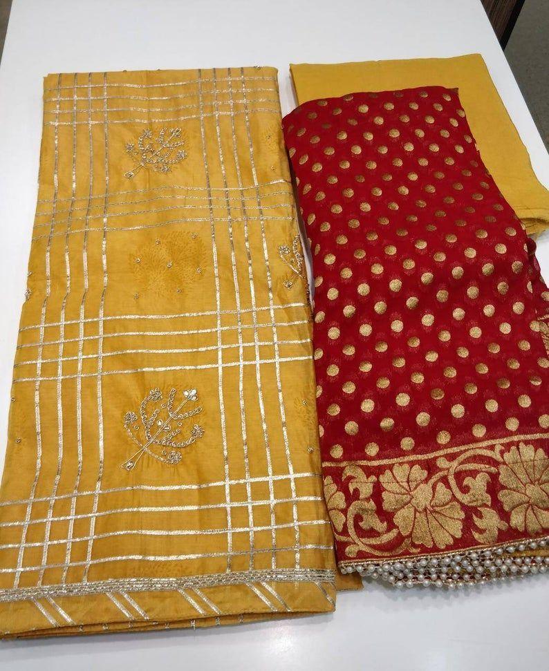 Hand Embroidered Salwar Kameez DupattaBeautiful Panel Embroidery In Yellow Color ChanderiChiffon Gota Work And Bhandani Print Dupatta