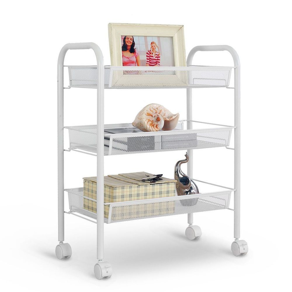 Office Trolley Cart For Rolling Cart Kitchen Home Office Utility Trolley Organizer Metal Mesh Shelf langria