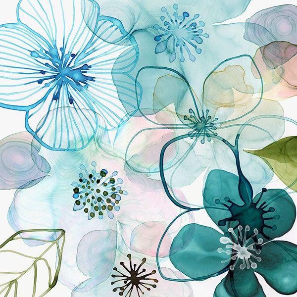 Margaret Berg Art Water Blossoms I Estampas Florais Estampas