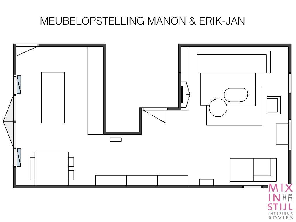 Interieuradvies - tekening met meubelopstelling - Mix in Stijl Interieur Advies.