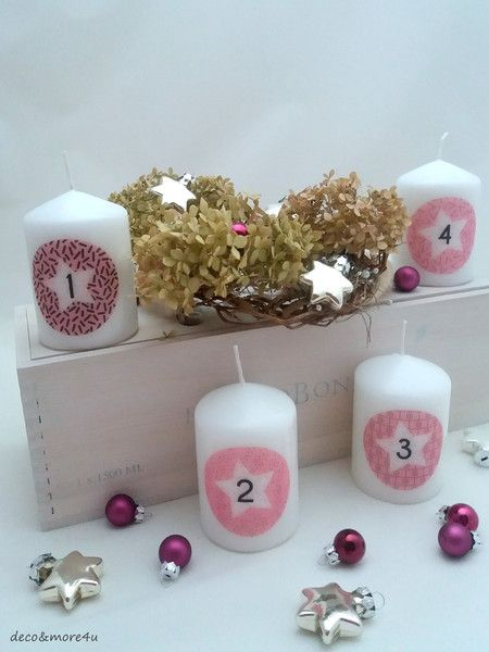 Kerzen Beleuchtung Adventskerzen Grafics Rosa Zahlen 1 4