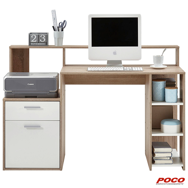 Schreibtisch Sonoma Eiche Nachbildung Weiss Online Bei Poco Kaufen Teenage Room Decor Kartonhaus Sonoma Eiche