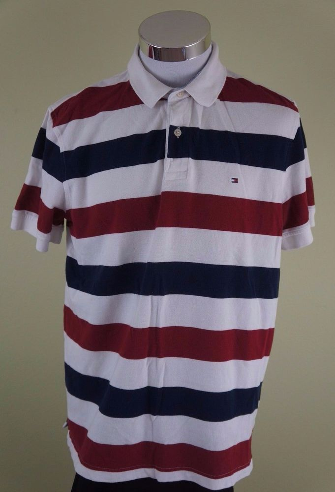 0311ffbf4 TOMMY HILFIGER Custom Fit Striped Short Sleeve Polo Shirt Red White Blue  Large  TommyHilfiger  PoloRugby
