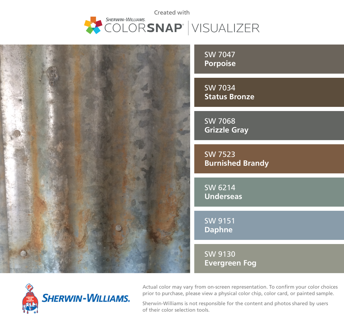 I found these colors with ColorSnap® Visualizer for iPhone by Sherwin-Williams: Porpoise (SW 7047), Status Bronze (SW 7034), Grizzle Gray (SW 7068), Burnished Brandy (SW 7523), Underseas (SW 6214), Daphne (SW 9151), Evergreen Fog (SW 9130). #cityloftsherwinwilliams