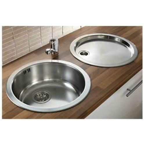 pyramis 1 bowl kitchen sink with tap drainer stainless steel 450 x 450mm - Kitchen Sink Round