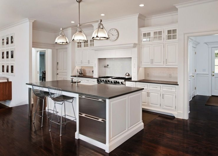 Modern White Kitchen Wood Floor white kitchen cabinets with granite countertops and dark floors