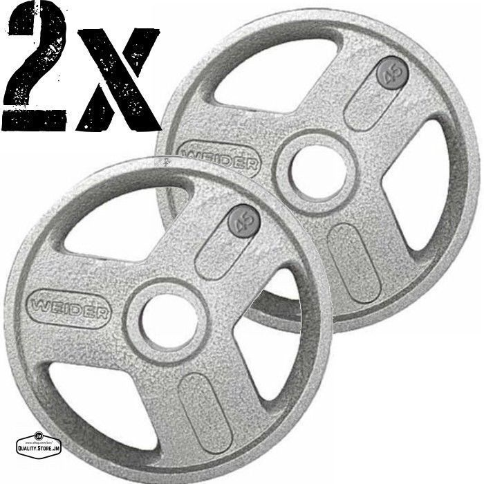 Olympic Weight Plates Set Pair 45 Pound 90 Lb Lifting Equipment For 2 Inch Bar #Weider