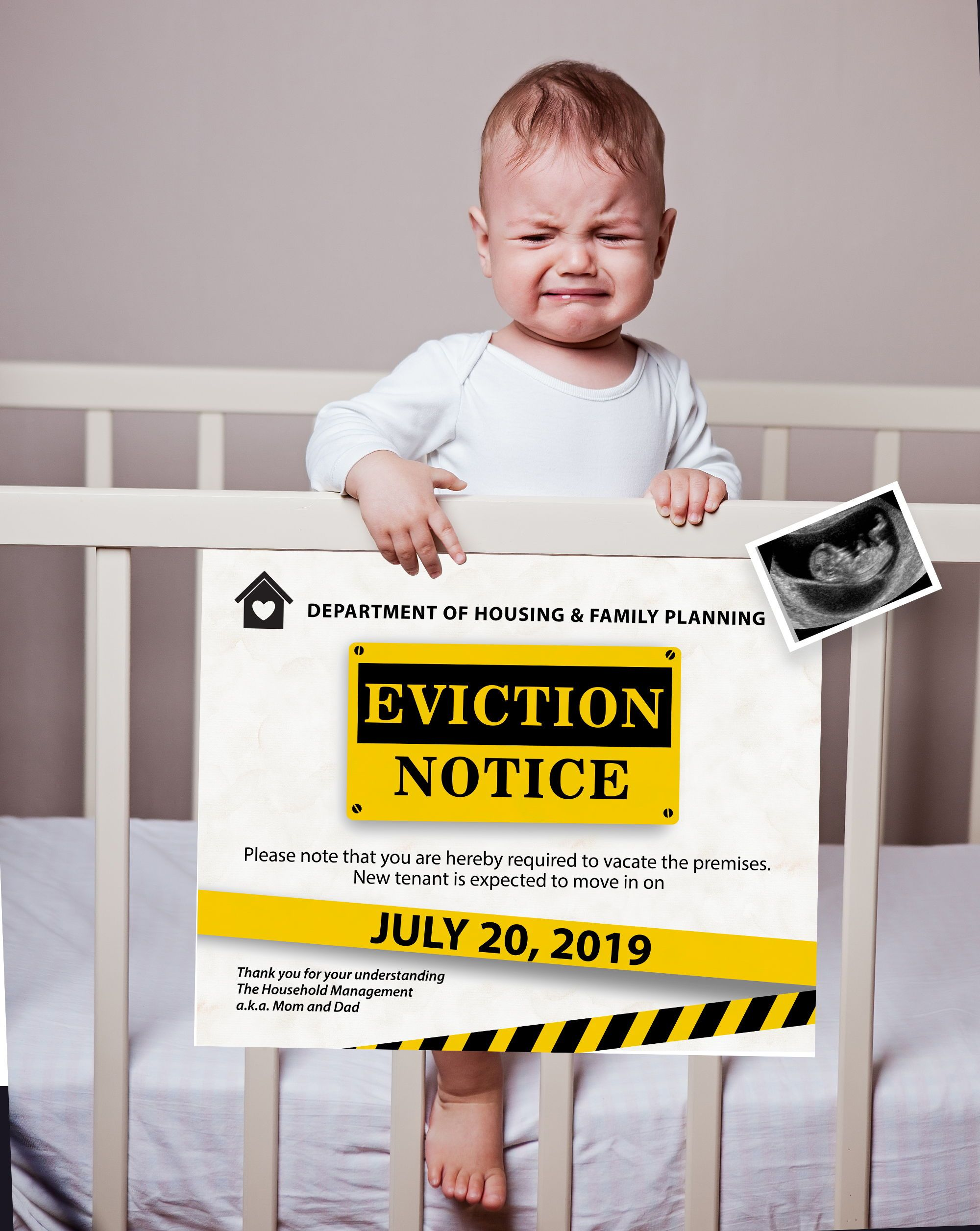 Pin On // Eviction Notice Pregnancy Announcement