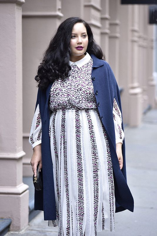 78fa842d456 Girl With Curves x Lane Bryant Collection Sneak Peek  Sweater Cape + Mixed  Print Dress