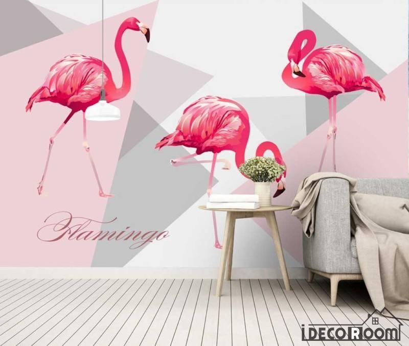 Nordic Minimalist Fashion Geometric Flamingo Art Wallpaper Wall