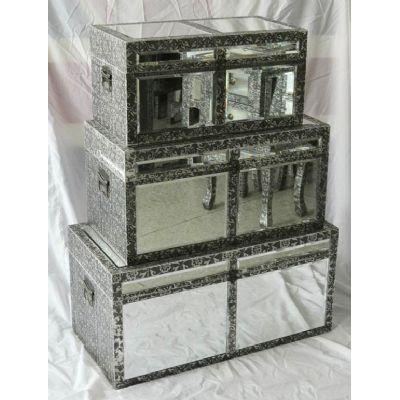 Chaandhi Kar Mirrored Black Silver Embossed Set Of 3 Storage Trunks