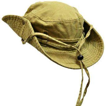 c5a06a43f Khaki Cotton Safari Hat With Chin Cord & Snap Sides Luxury Divas ...