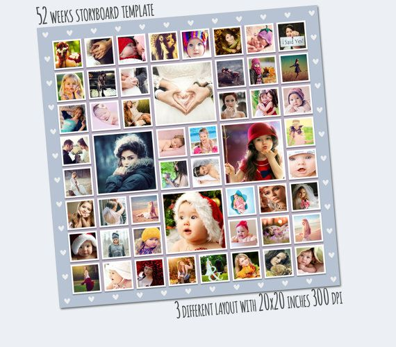 20x20 Storyboard Template, 52 weeks project Photo Collage - photography storyboard template