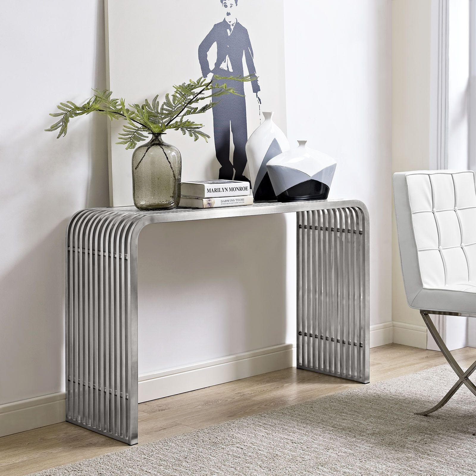 Pipe stainless steel console table silver modway products