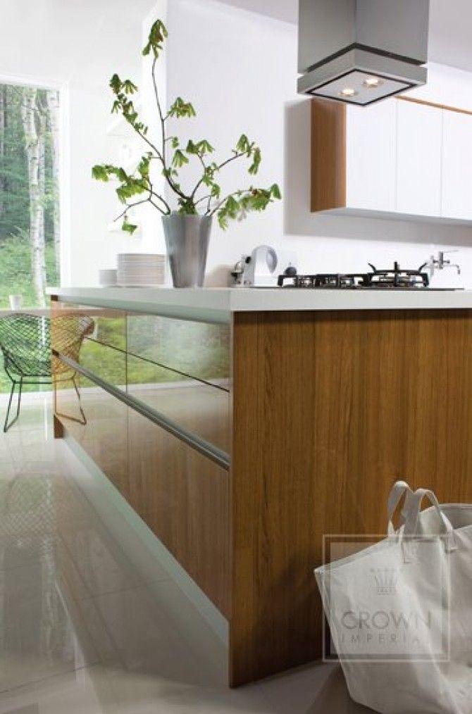 Teak gloss kitchen in a contemporary 'True' Handleless ...