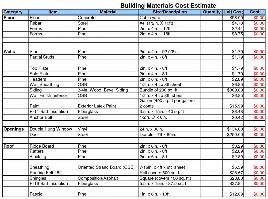 Free Building Estimate Format In Excel