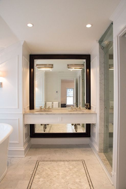 Mirror Takes Up The Whole Wall Brightens The Space And Less Expensive Bathroom Mirror Design Bathroom Model Elegant Bathroom