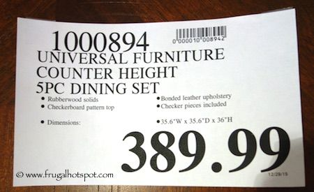 Costco Universal Furniture 5 Pc Counter Height Dining Set