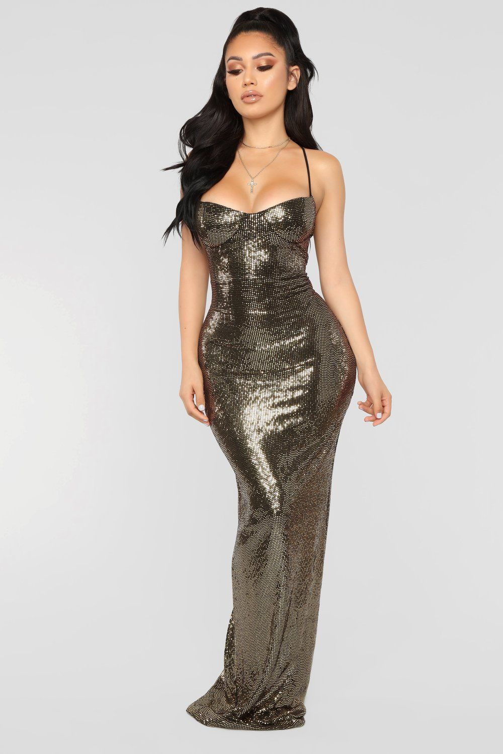 6e301781cf Ultra Radiant Sequin Dress - Gold