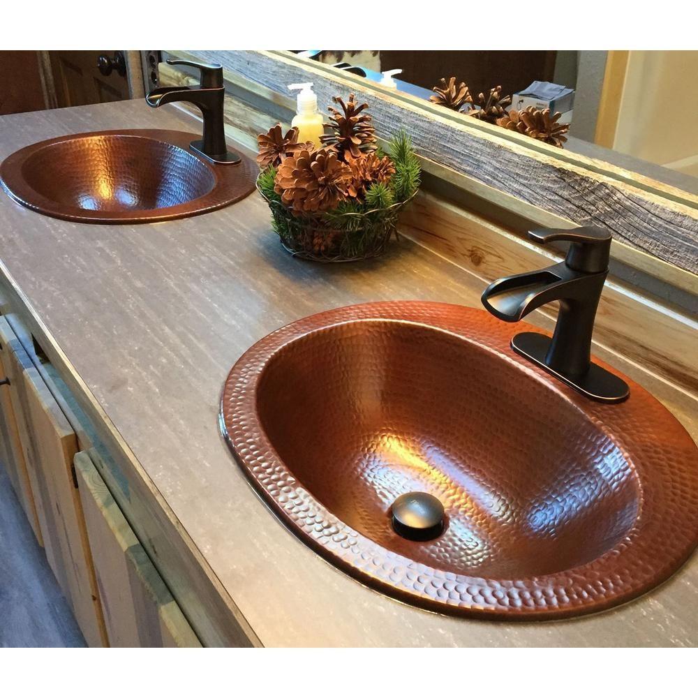 Sinkology Seville 20 In Drop In Copper Bathroom Sink In Aged