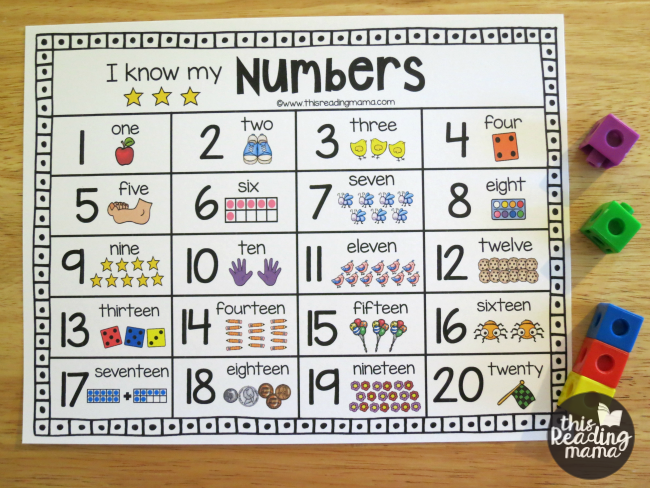 Printable Number Chart for Numbers 1-20 | Numbers preschool ...