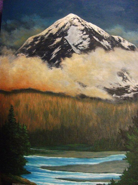 Mountain River Tree Clouds Oregon Washington Nature Summer Fall Original Landscape Oil Painting Oil Painting Landscape Original Landscape Mountains