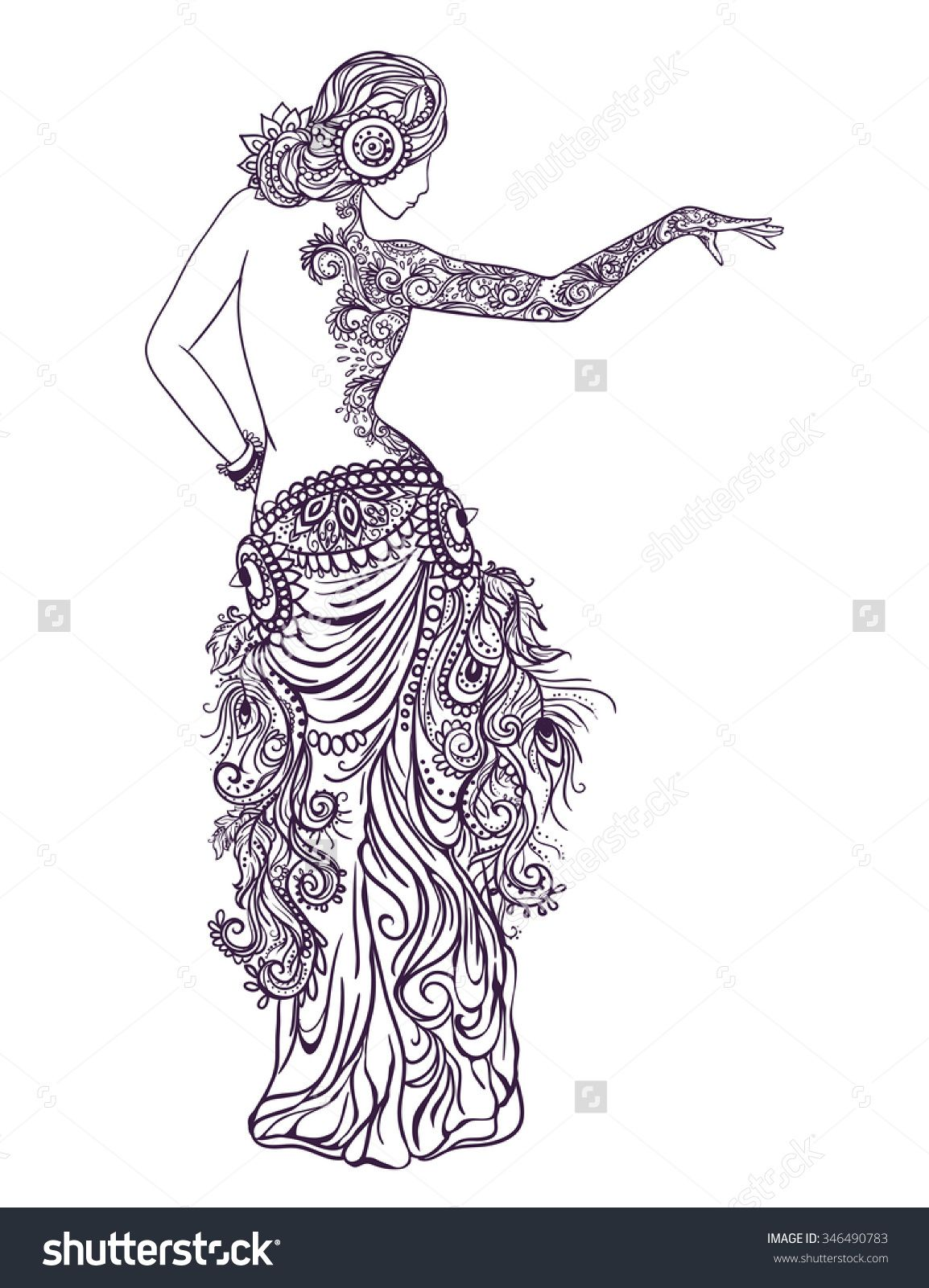 Ornament beautiful card with girl belly dance. Mehenidi element hand ...