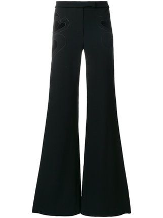 Elie Saab heart velvet trim bell bottom trousers