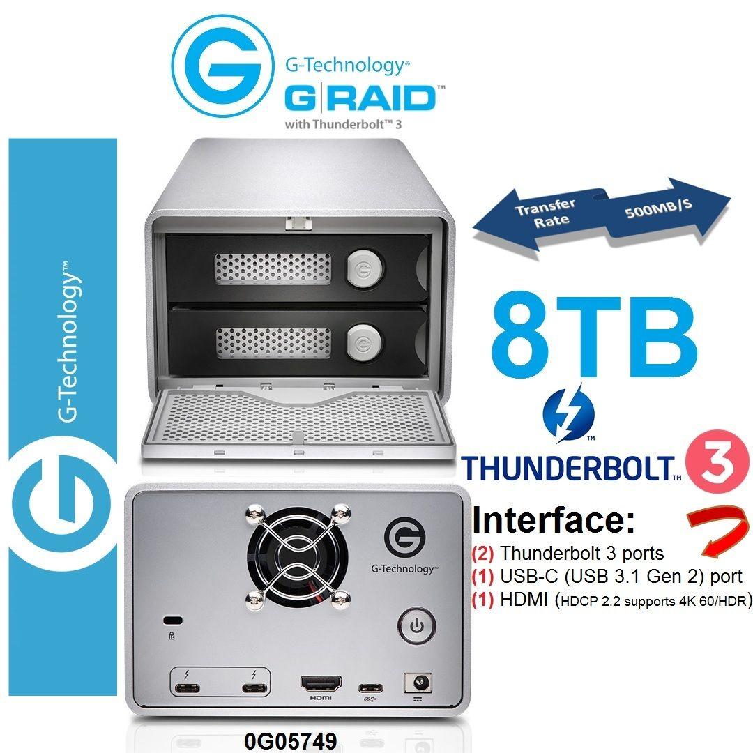 G Technology 8tb 2bay G Raid Thunderbolt 3 Technology Hard Drive Storage Raid