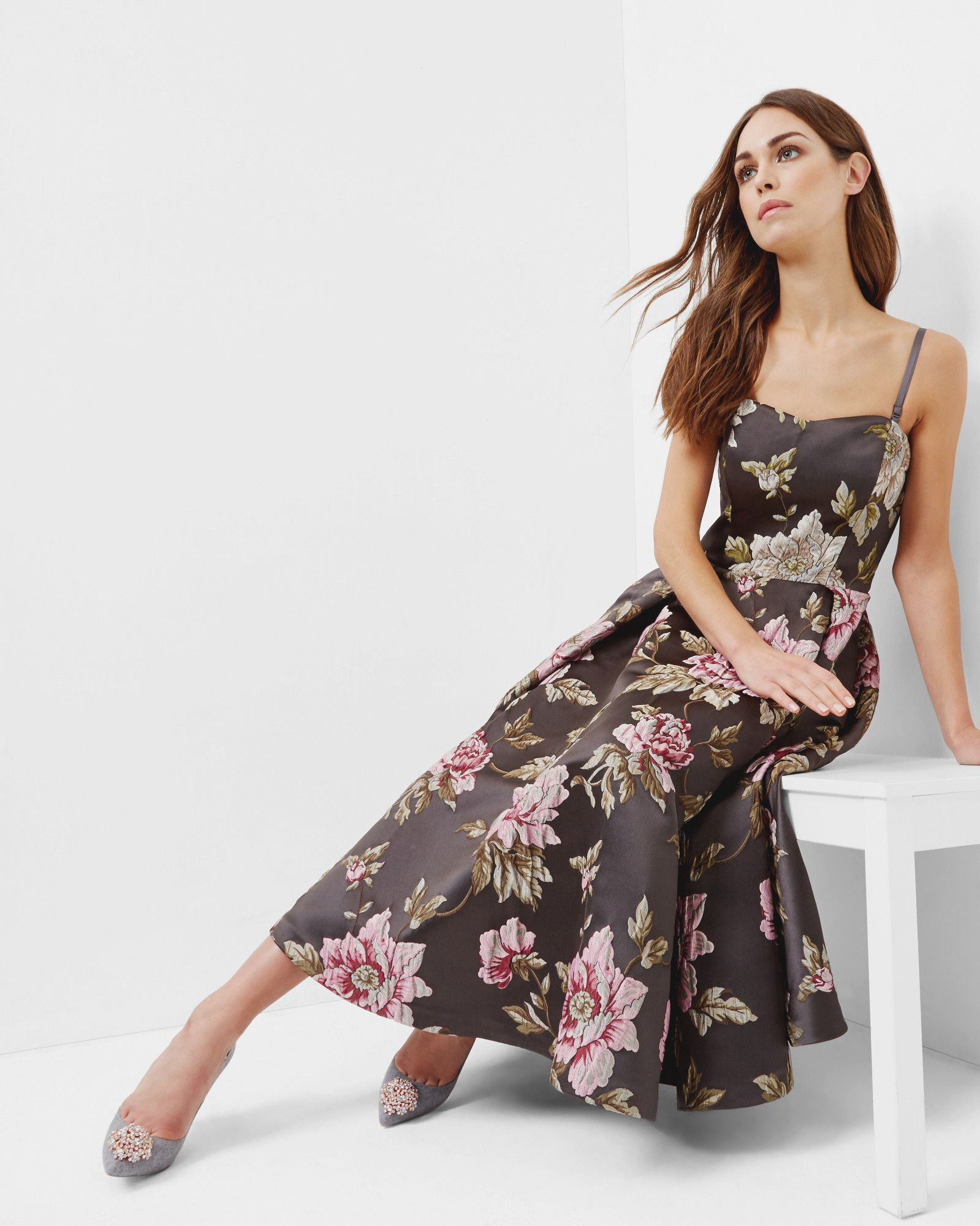 4f1df27ce  WedWithTed  TedBaker  Contest - Floral jacquard full midi dress - Gunmetal
