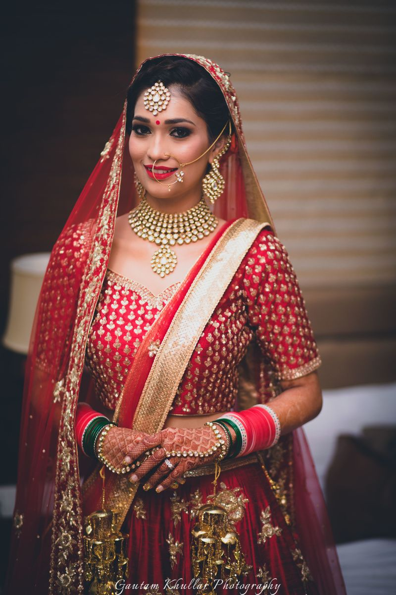Photo Of Red Bridal Lehenga With Double Dupatta Draping Bridal Lehenga Red Bridal Dupatta Indian Bride Dresses