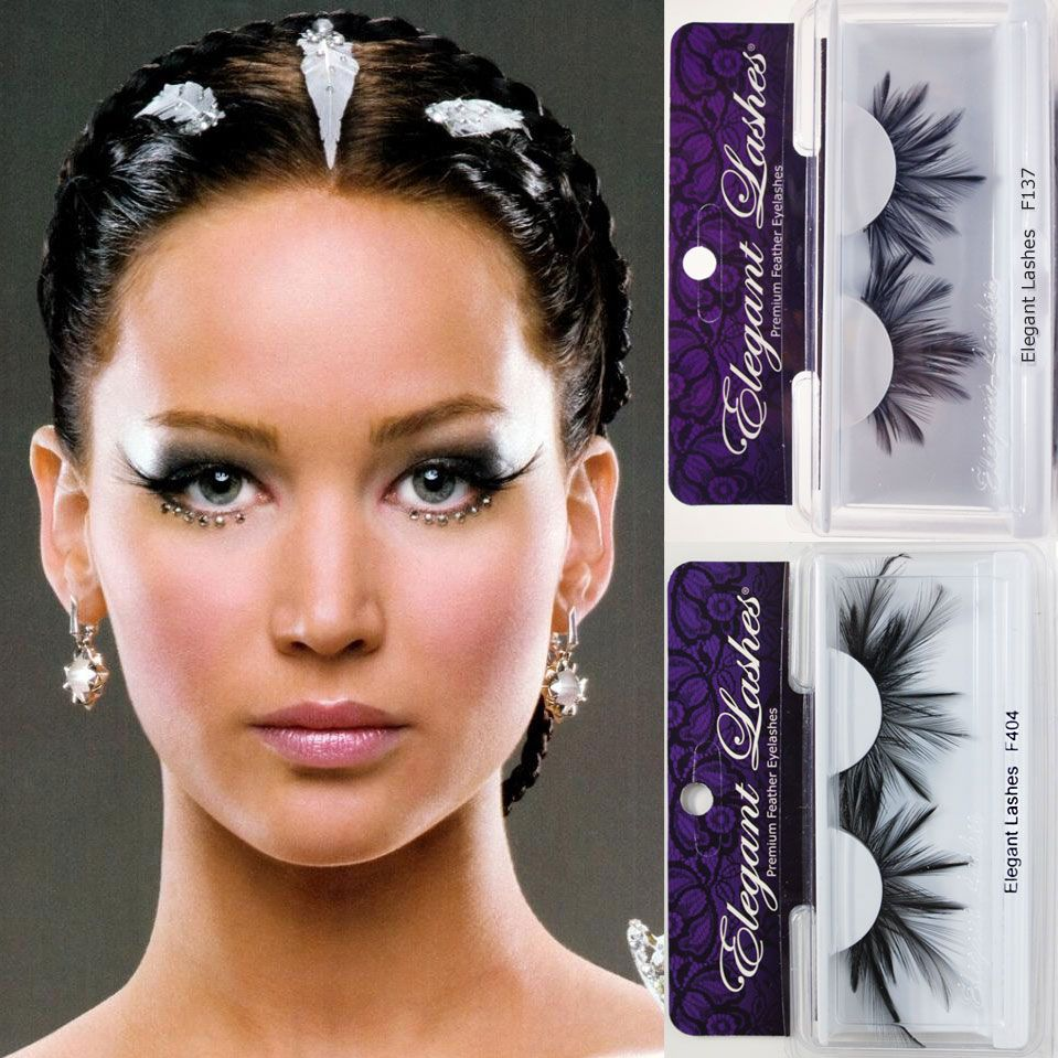 Jennifer Lawrence as Katniss Everdeen in The Hunger Games: Catching Fire, wearing Elegant Lashes Premium Feather False Eyelashes.