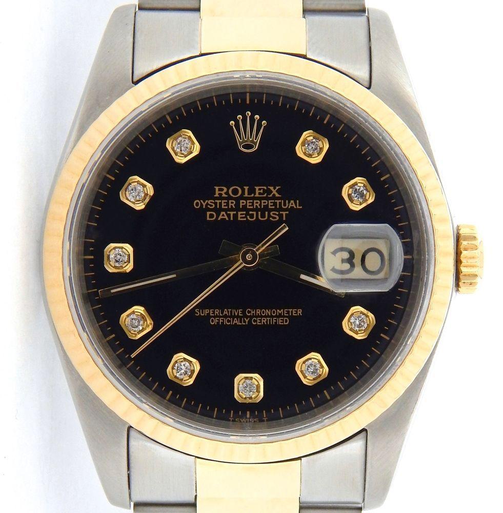 Rolex Datejust Mens Yellow Gold Stainless Steel Watch Black Diamond Dial 16233 Rolex Datejust Men Rolex Rolex Datejust