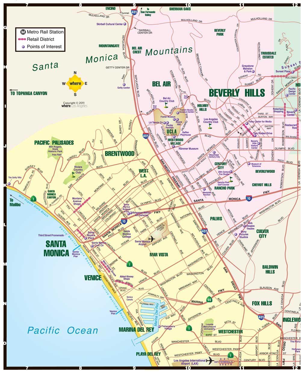 West La California Beverly Hills Santa Monica Map La California