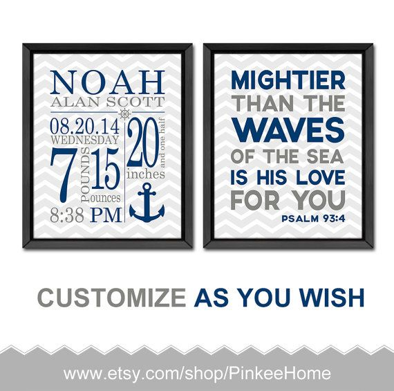 Nautical baby room decor nautical birth stats bible verse nursery nautical baby room decor nautical birth stats bible verse nursery nautical new baby gift personalized baby negle Images