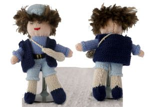 "Little Boy Blue is fast asleep? Wake up this 6"" hand-knit sweetie"