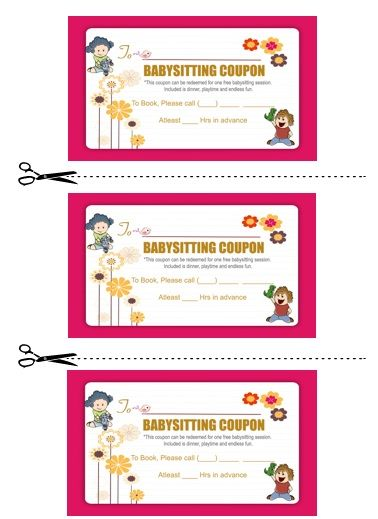 Babysitting Coupon Book Template 2 Babysitting coupon book
