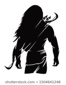 Lord Ram Silhouette Amazing Look Vector Stock Vect