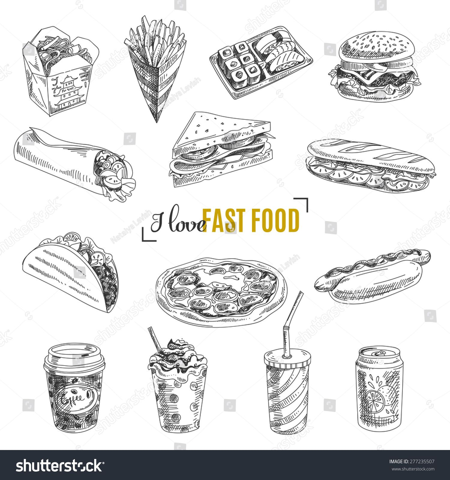 Vector set of fast food. Vector illustration in sketch style. Hand drawn design elements. #Sponsored , #sponsored, #food#illustration#fast#Vector
