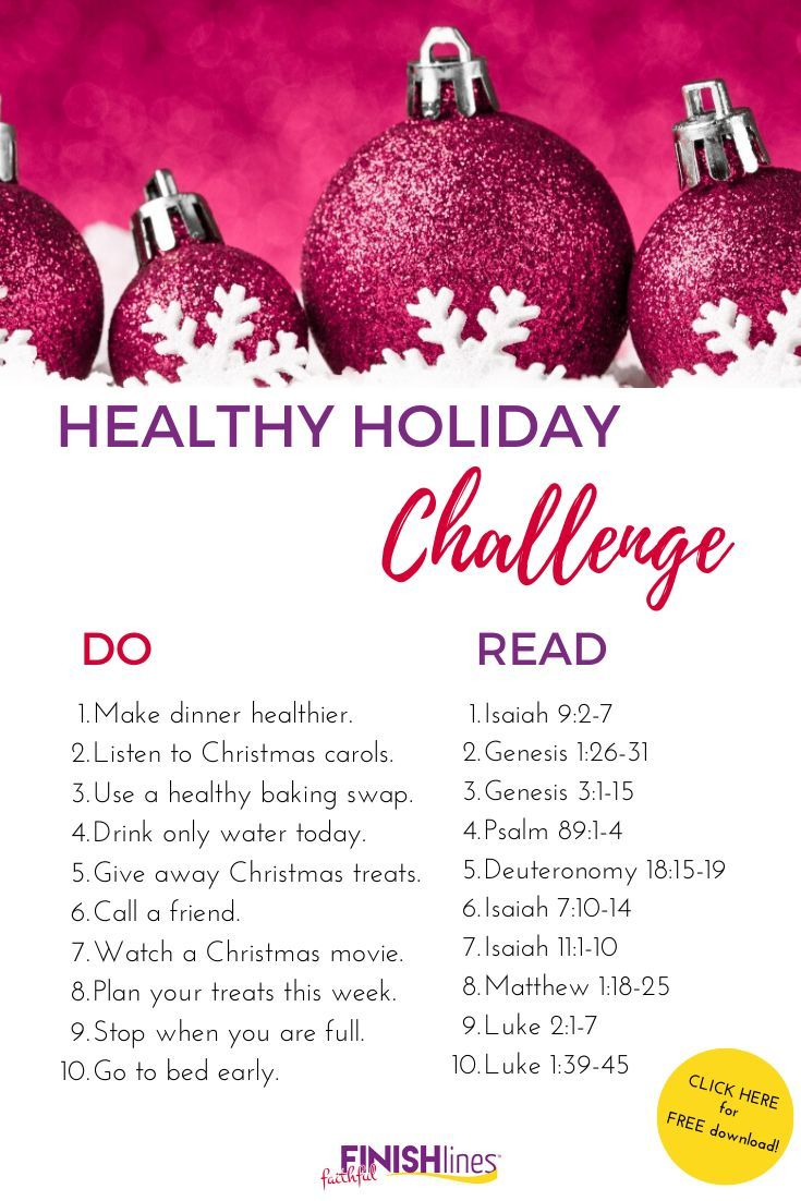 This challenge is full of small, simple ways to focus on your health this holiday season. Plus each...