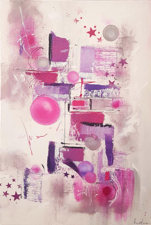 Peinture Moderne Acrylique Et Matiere Rose Violet Gris Blanc
